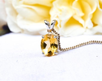 Natural Citrine Oval necklace with 925 Sterling Silver *Free Worldwide Shipping*