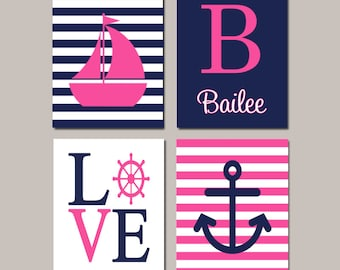 Hot Pink Navy Nautical Nursery Wall Art Sailboat Love Anchor Monogram Set of 4 Prints Or Canvas Baby Girl Bedroom Decor Picture