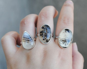Sterling Silver Montana Agate Ring - Montana Agate Jewelry