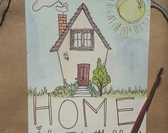 """Love """"Home is wherever I'm with you"""" hand painted greeting card"""