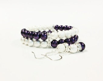 Stardust and Purple Bracelet and Earring Set, Bridal Jewelry Set