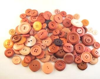50 Plastic Orange Flat Button Mix - Mixed Orange Sewing Buttons -Vintage  Button Lot - Orange Craft Buttons - Orange Button Mix