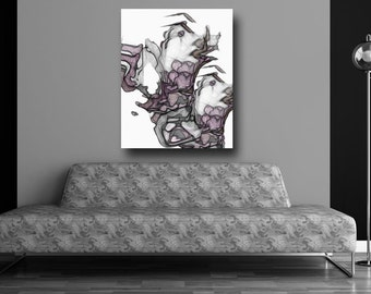 Canvas print, abstract print, unique wall art, Violet poster, floral print, home decor, gift ideas, giclee, modern art