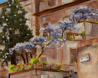 Flowers - Plein air Landscape Architecture Oil Painting Florence Italy