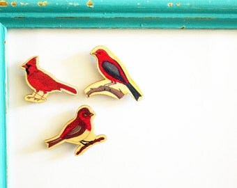 Set of 3 Super Cute Red Bird Design Wooden Magnets