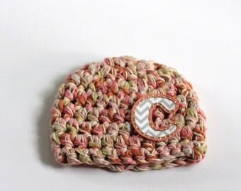 Hat | Accessory | Kids | Organic | Chunky | Crochet | Monogram | Personalized | Fall | Winter | Multi Color | Cotton Bamboo | Renewable |
