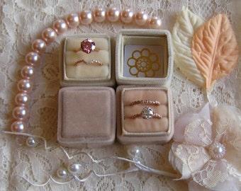Pre-Order... Julia's Wedding Ring Box, Handmade Velvet Ring Box for Your Engagement Ring and Wedding Band