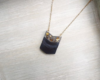 Long necklace, Chevron necklace, black and gold, Geometric necklace, pendant necklace
