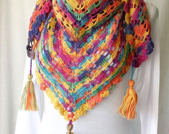Hand-knitted triangle shawl - acrylic, mohair yarn - Autumn colored shawl