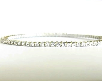 Crystal Clear Rhinestone Bangle Bracelet; Dainty Bracelet; Bridal Jewelry