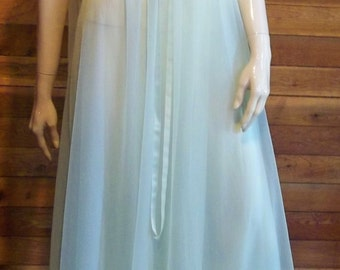 Vintage Lingerie 1960s VANITY FAIR Aqua Chiffon and Lace Size 38 Nightgown