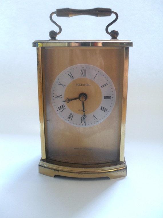 Vintage Metamec Quartz Gold Carriage Clock with Handle and Roman Numerals