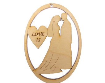 Bride and Groom Ornament - Wedding Ornaments - Our First Christmas - Wedding Favors - First Christmas Ornament Married - Personalized Free