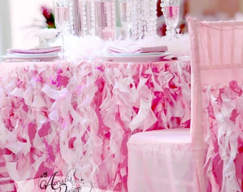Pink Ruffle Tablecloth & Curly Willow Table Skirt MADE TO ORDER for Wedding Reception tables Sweetheart Cake Table Head Table Bridal Shower