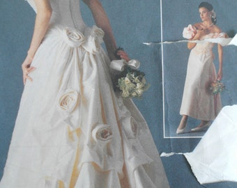Vogue Victor Costa Bridal Dress Pattern 1060 UK Size 12 - 16, Circa 1990- Used