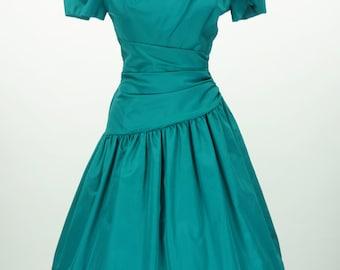 Vintage 1980s Teal Taffeta Dress Size S