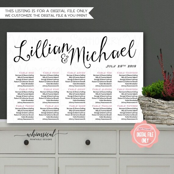 Printable Seating Chart Wedding Sweet Words Printable File Only – Simple Listing Words