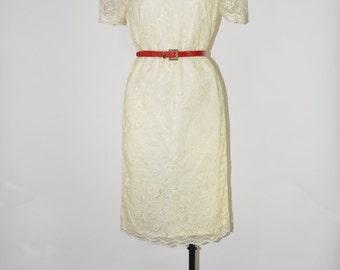 60s ivory lace dress / vintage shift dress / 1960s mod wedding dress