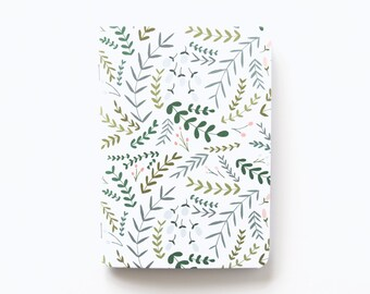 Medium Illustrated Journal | Hand Illustrated Floral Journal with Botanical Pattern, Lined Notebook Stationery : Garden Wreath Collection