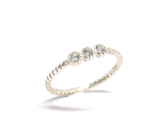 Three Stone Ring, Sterling Silver Ring, 925 Silver Stacking Ring, Wholesale Silver Ring, Triple Clear Stone Ring, Wholesale Silver Jewelry