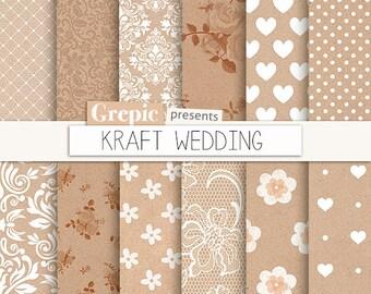 "Wedding digital paper: ""KRAFT WEDDING"" Romantic backgrounds, romance, lace, floral, flowers, white brown, kraft paper, old paper, vintage"