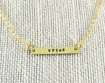 Custom Zodiac Sign Bar Necklace, Zodiac Necklace, Zodiac Bar Necklace, Hand Stamped Necklace, Personalized Bar, Name Plate, Choose Your Sign