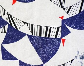 Kokka Fabric ~ Echino Flag ~ Humming Bird Fabric ~ Canvas Fabric ~ Japanese Fabric ~ Etsuko Furuya ~ Cotton Linen Fabric ~ Home Decor Fabric
