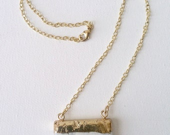 SALE White Quartz Pendant with Gold Chain Necklace