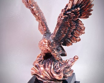 Copper Resin EAGLE STATUE Patriotic Figurine Totem Animal Spirit