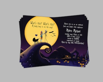 Nightmare Before Christmas Baby Shower Invitation 5 x 7 vertical or horizontal custom made