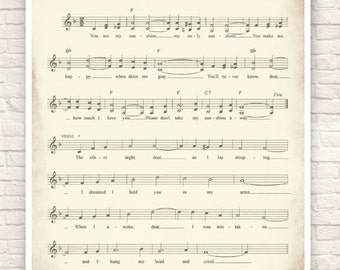 Sheet Music Art, Lullaby Sheet Music, Sheet Music Prints, Sheet Music Art Prints, You are My Sunshine.