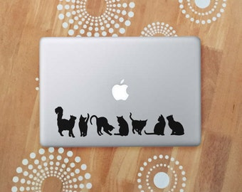 Cat Laptop Decal, Black Cat Stickers, Cat Silhouette Vinyl Decal, Cat Car Decal