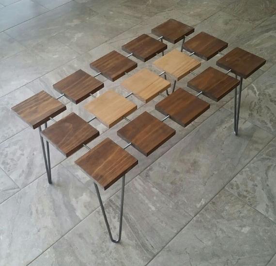 Case Modern Wood Coffee Table Hairpin Legs Glass