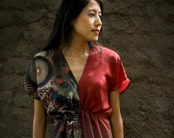 Firoza Dress in crepe silk and printed silk muslin