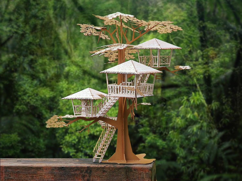 Miniature Tree House tiki tree house model kit 12 tall laser cut parts a