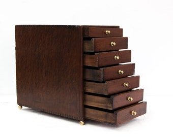 Seven Drawer Mahogany Miniature Chest