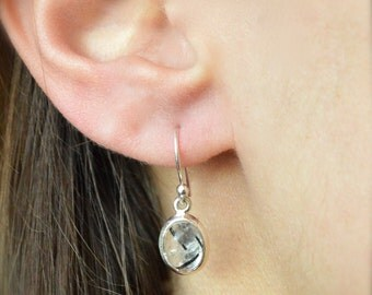 Black Tourmaline in Quartz Earrings