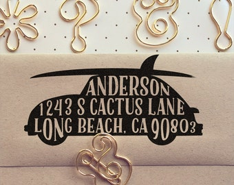 Cute Custom VW Bug and Surfboard Return Address Stamp - return address stamping and customized gift for holidays, housewarming and weddings