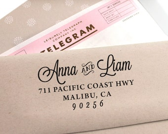 Custom Stamp, custom address stamp, return address stamp, calligraphy wedding stamp, custom rubber stamp and self inking stamp