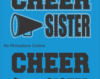 Cheer Sister Sweatshirt/ Cheer Sweatshirt/ Vinyl Rhinestone Cheer Sister Hoodie/ Cheer Sister Gift