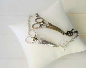 Scissor Bracelet  or Necklace with Charm / Hair Stylist Scisor Necklace
