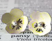 Pansy Stud Earrings in Anodised Aluminium Pale Pink with Sterling Silver or Anodized Niobium posts