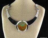 """18"""" Sterling Silver Landscape Stone Choker Necklace"""