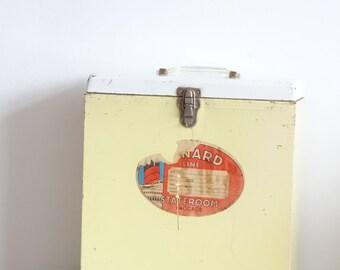 Vintage Metal Storage Box with Cunard Line Stateroom Baggage Label