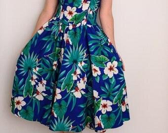 Hawaiian Dress, Hawaiian Print, 80's Hawaiian Dress, Tropical Print Dress
