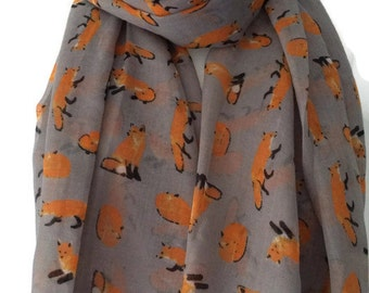 Grey Scarf with a Fox print , Large Gray Fox pattern Scarf , Foxes Sarong , Wrap shawl