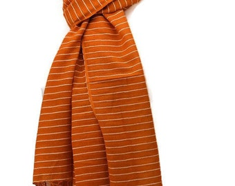 Orange Scarf with a White Stripe, Ladies or Gents 100% Pure Cotton Fair Trade Shawl