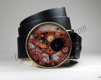 Belt Buckle Steampunk Gear Cat Belt Buckle Round Buckle Mens Belts Womens Belts Birthday Gift Leather Belt Cat Buckle