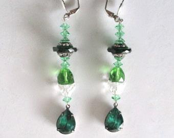 Pair of Vintage 3 1/2-Inch  Green Crystal Earrings