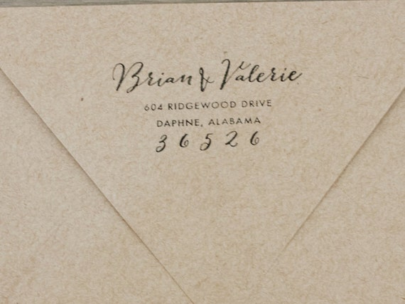 Return address stamp envelope addressing wedding by for Return address envelopes for wedding invitations